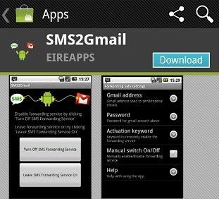 SMS2Gmail 1 Tips : 3 Langkah Forward Misscall dan SMS dari Android ke Gmail aplikasi android