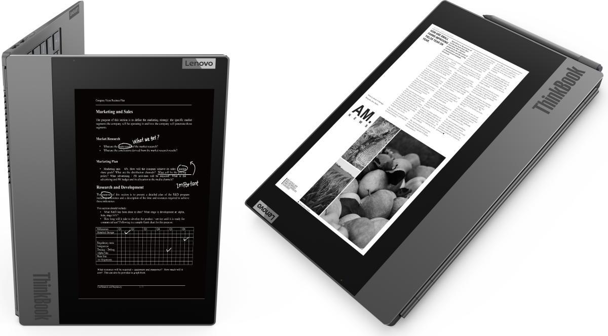 [CES 2020] Lenovo ThinkBook Plus: Laptop Bisnis Pertama Lenovo dengan Layar Ganda 3 ces 2020, harga, intel core 10th gen, lenovo, lenovo ThinkBook Plus, spesifikasi, ZonA Canggih Intel
